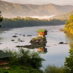 Lonely house on the river Drina in Bajina Basta, Serbia